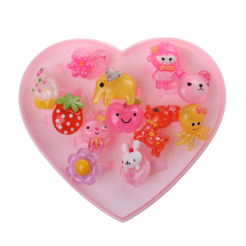 [해외]12PCS 모듬 된 플라스틱 반지 Pink 하트 상자 아이 소녀 쥬얼리 선물 모델 구축 키트 클래식 장난감 생일 선물/12Pcs Assorted Plastic RingsPink Heart Box Kids Girl Jewelry Present Model Build