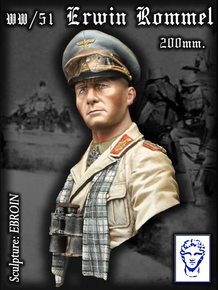 [해외]200mm BUST 수지 피규어 키트 WW / 51 & Generalfeldmarschall Erwin Rommel, 1942 & (야자수가없는베이스) Unassambled Unpainted/200mm BUST Resin Figure Kit  WW
