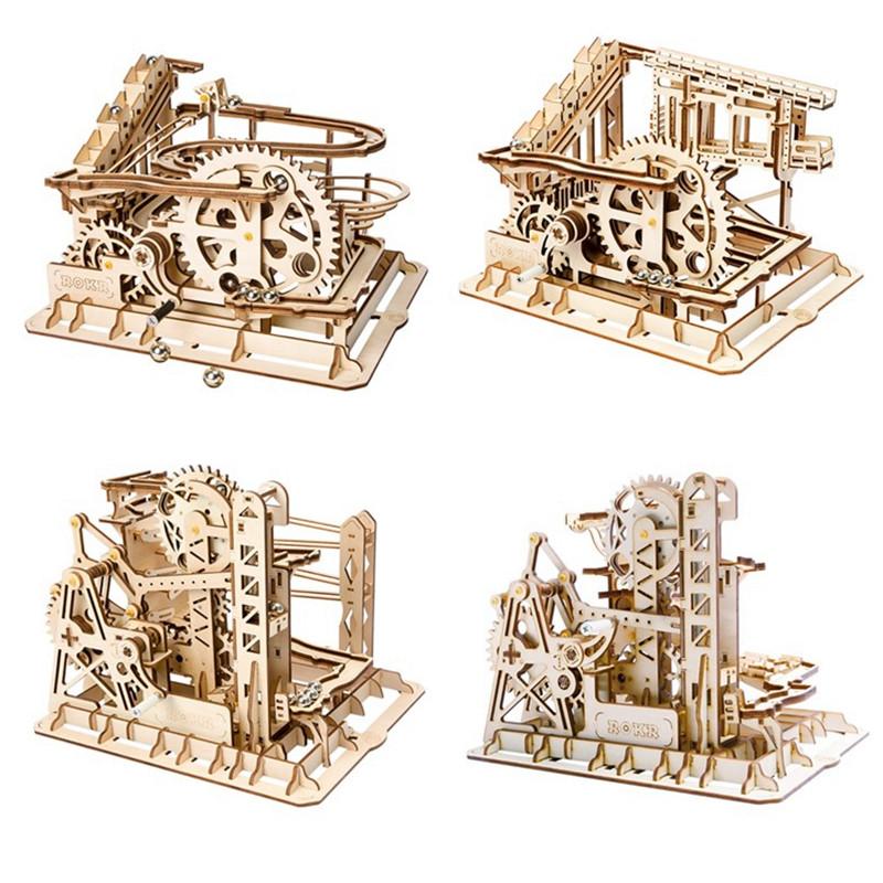 [해외]Robotime 4 종류의 DIY 매직 기어 드라이브 볼 충돌 게임 나무 모델 빌딩 키트 어린이를장난감 선물 청소년 성인/Robotime 4 Kinds DIY Magic Gear Drive Ball Crash Game Wooden Model Building Ki
