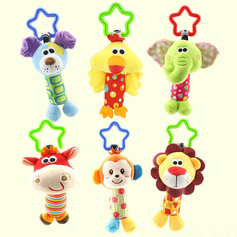 [해외]아기 장난감 딸랑이 만화 동물 모델 Handbells 봉제 딸랑이 귀여운 선물 아기 장난감 인형 -30/Baby Toys Rattles Cartoon Animal Model Handbells Plush Rattles Cute Gift Baby Toy Doll -