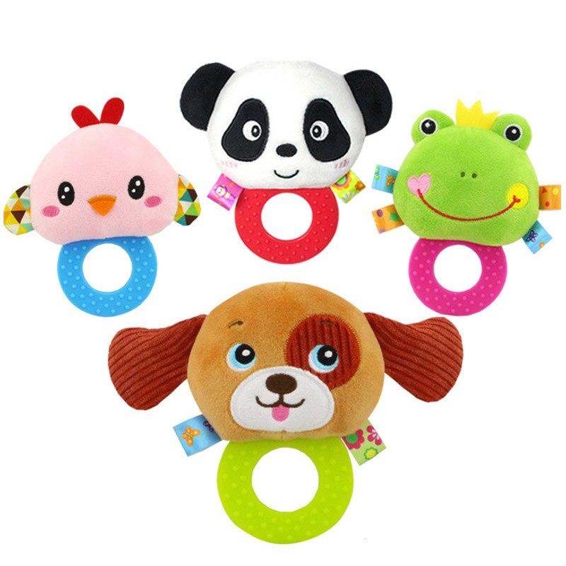 [해외]신생아 딸랑이 장난감 손으로 벨 유아 유아 반지 인터랙티브 귀여운 만화 동물 플러시 완구 조기 교육 선물 FJ88/Newborn Rattles Toy Hand Bell Toddler Infant Rings Interactive Cute Cartoon Animal