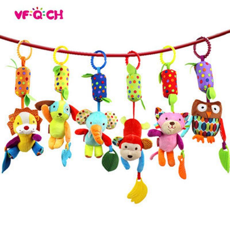 [해외]슈퍼 부드러운 인형 만화 숲 동물 Campanula 아기 딸랑이 장난감 Teether 조기 유아 교육 침대 유모차 인형을 교수형에 처하는/Super Soft Plush Cartoon Forest Animal Campanula Baby Rattles Toys Te