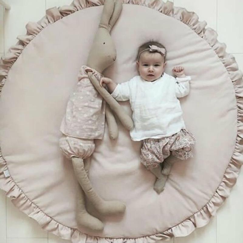 [해외]아기 0-24 개월  담요 부드러운 코튼 놀이 MatDecorative 테두리 따뜻한 잠자는 이불 매트 어린이 객실 카펫 핑크/Baby 0-24 months Play Blanket Soft Cotton Play MatDecorative Border Warm Sl