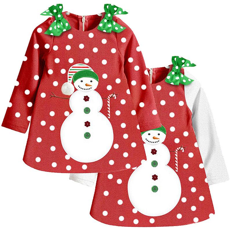 [해외]1-7 년 다채로운 아기 소녀 긴 Retail 복장 붉은 새해 크리스마스 화이트 점 바지 째 눈사람 파티 데일리 옷 놀이 매트/1-7 Years Colorful Baby Girl long Sleeve Dress Red New Year Christmas White