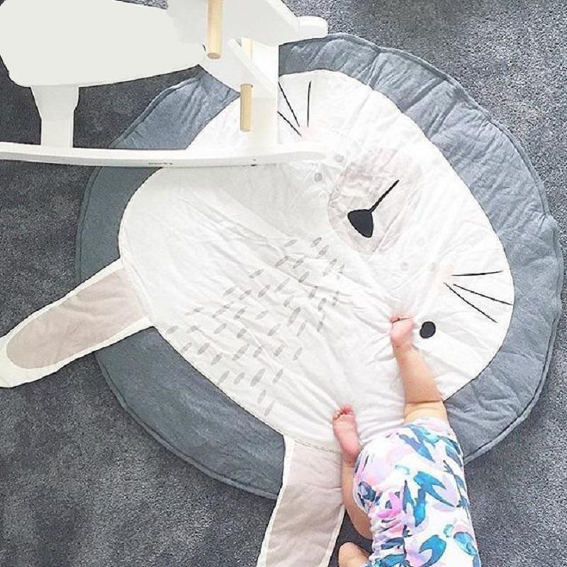 [해외]95CM 어린이 놀이 게임 매트 둥근 양탄자 깔개 매트 목화 토끼 크롤링 담요 층 카펫 어린이 방 장식 아기 선물/95CM Kids Play Game Mats Round Carpet Rugs Mat Cotton Rabbit Crawling Blanket Floo
