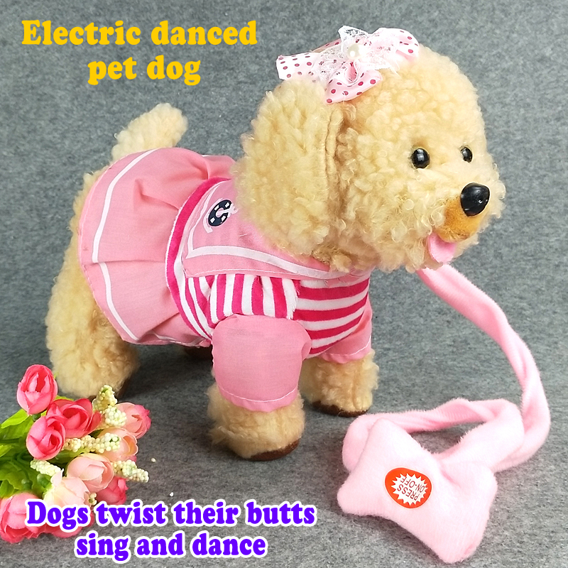 [해외]33cm 노래 걷는 뮤지컬 로봇 강아지 인터랙티브 전기 애완 동물 플러시 장난감 야외 재미 인형 아기 장난감 선물 어린이 2 색/33cm Singing Walking Musical Robot Dog Interactive Electric Pets Plush Toy