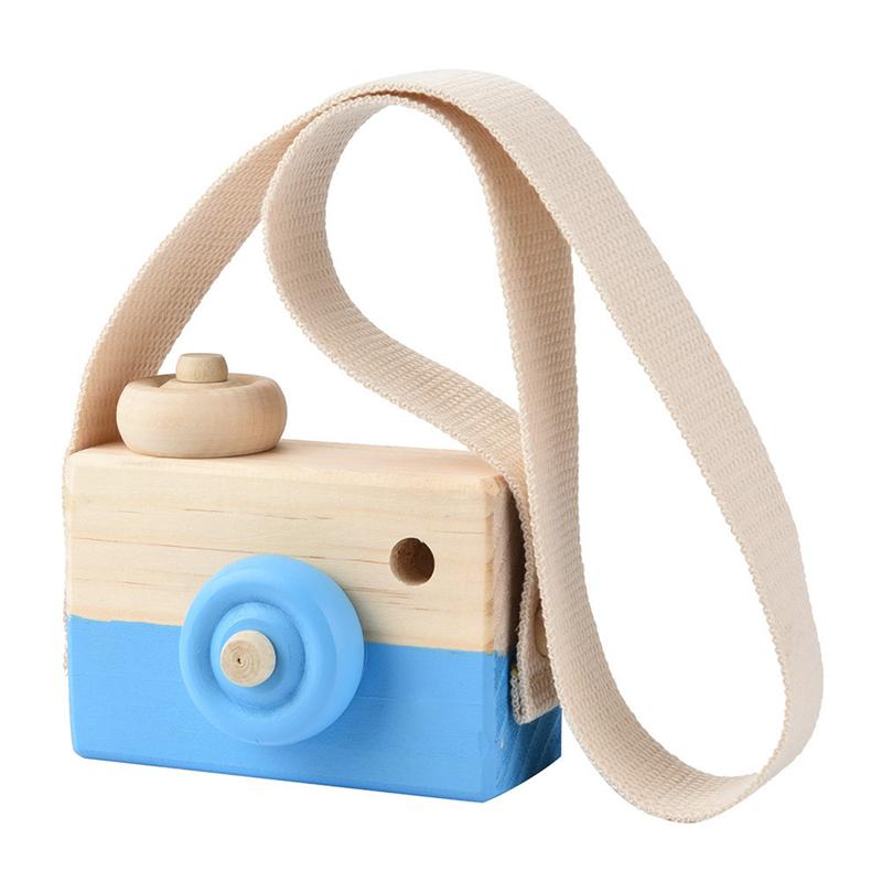 [해외]뜨거운 파란색 나무 장난감 카메라 키즈 크리 에이 티브 목 교수형 밧줄 장난감 사진 지팡이 선물 핑 슈퍼 눈 잡기 카메라/Hot Blue Wooden Toy Camera Kids Creative Neck Hanging Rope Toy Photography Pro