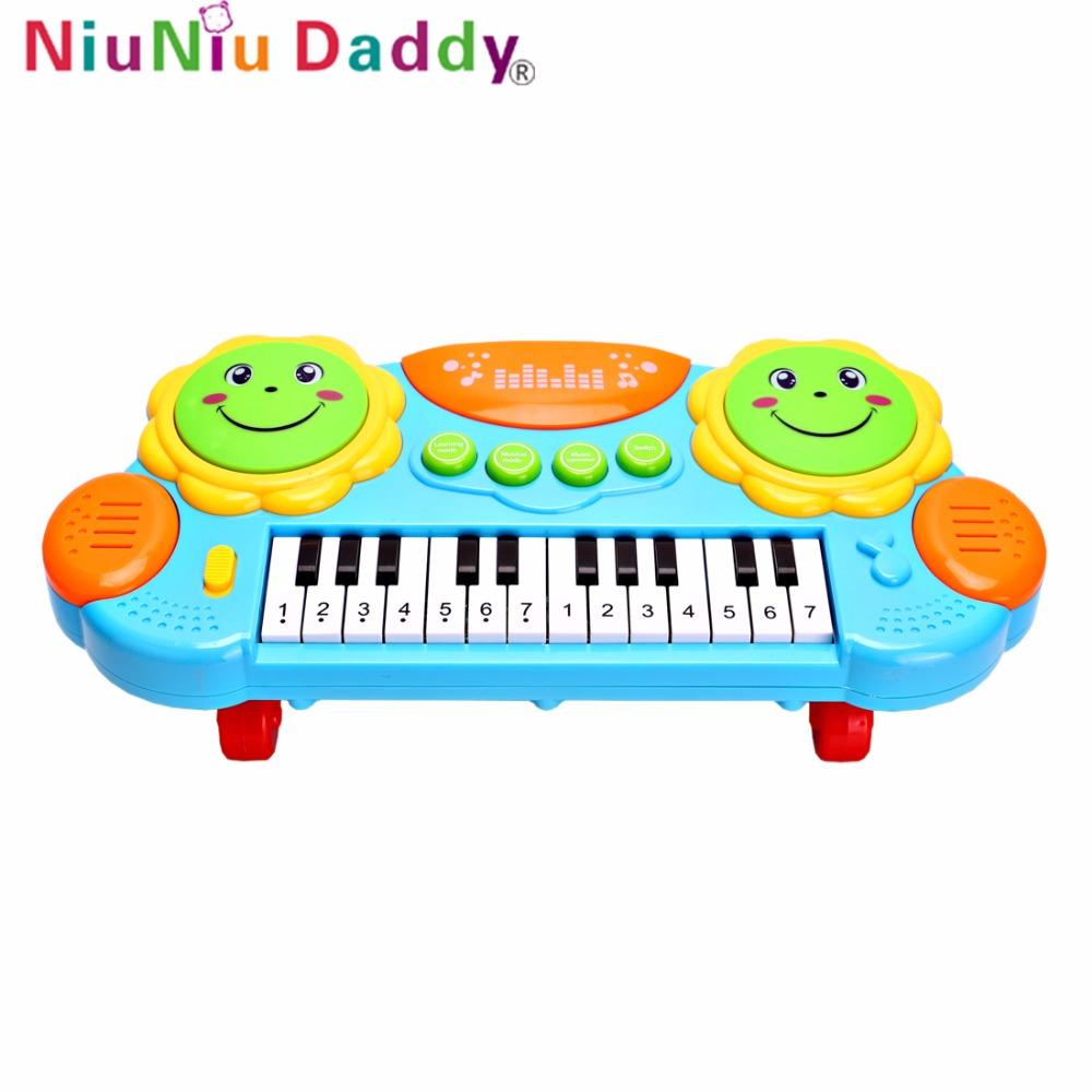 [해외]Niuniu 아빠 키즈 Eletronic 피아노 장난감 뮤지컬 발광 악기 완구 발달 조기 교육 장난감 어린이 음악 키보드/Niuniu Daddy Kids Eletronic Piano Toy Musical Luminous Instrument Toys Develop