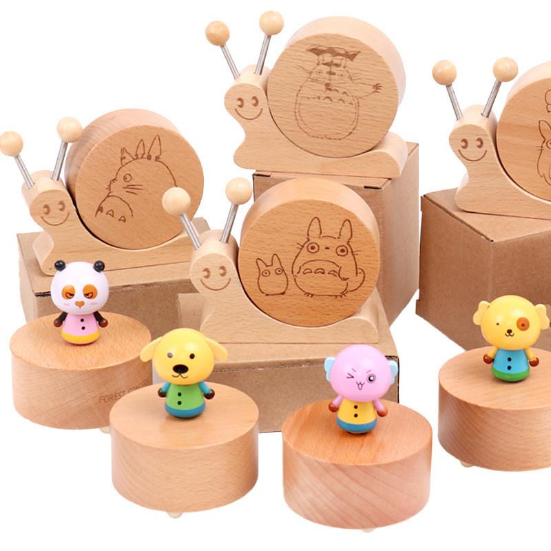 [해외]나무 만화 회전 음악 상자 달팽이 모양 뮤지컬 상자 어린이나무 장난감 어린이 가정 용품 나무 공예/Wooden Cartoon Rotating Music Box Snail Shape Musical Boxes Wooden Toys For Children Kids H