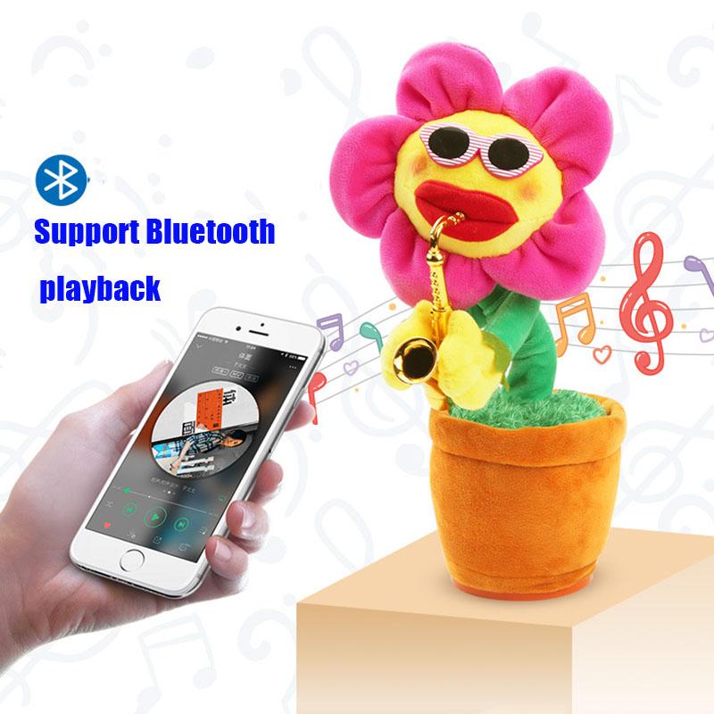 [해외]매혹적인 해바라기 지원 블루투스 봉제 인형 동요 사운드 완구 노래 댄스 색소폰 마법 매화 해바라기 선물/Enchanting Sunflower Support Bluetooth Stuffed Plush Shake Sound Toys Will Sing Dance sa