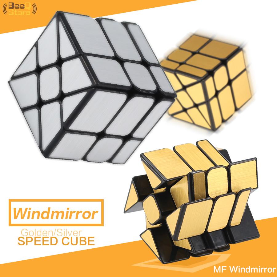 [해외]Mofangjiaoshi Windmirror 큐브 매직 소방 휠 큐브 골든 실버 닦았 스피드 큐브 3x3x3 아이 교육 장난감/Mofangjiaoshi Windmirror Cube Magic Fire Wheels Cube Golden Silver Brushed