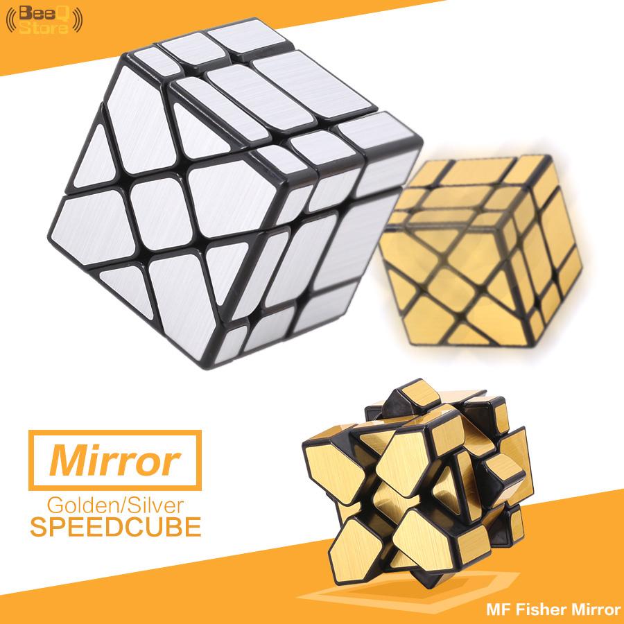 [해외]Mofangjiaoshi 피셔 거울 매직 큐브 골든 실버 닦았 스피드 큐브 3x3x3 아이를이상한 모양 교육 완구 선물/Mofangjiaoshi Fisher Mirror Magic Cube Golden Silver Brushed Speed Cube 3x3x3 S