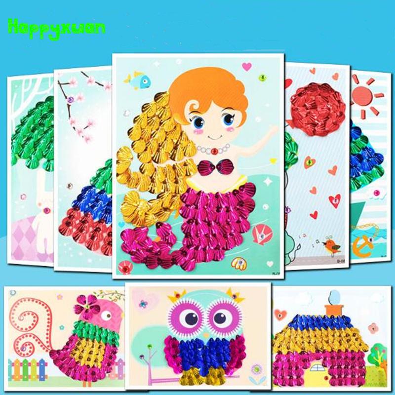 [해외]Happyxuan 3pcs / lot Diy 쉘 그림 아이 손으로 공예 재료 홈 장식 어린이 크리 에이 티브 3D 스티커 장난감 시리즈 B/Happyxuan 3pcs/ lot Diy Shell Painting Kids Handmade Crafts Material