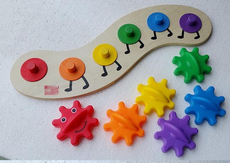 [해외]새로운 나무 장난감 아기 장난감 조립 된 기어 웜 아기 선물을 배우는 어린이위한 다채로운 위대한 선물