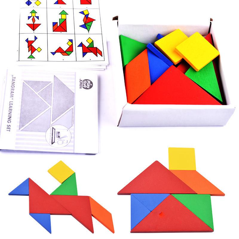 [해외]32 조각 색상 변경 DIY 퍼즐 어린이 독창성 교육 장난감에 대한 나무 퍼즐 선물은 주니어 tangram 학습 세트를 할 수/32 piece Color changed DIY jigsaw Wooden puzzle gift for children creativit