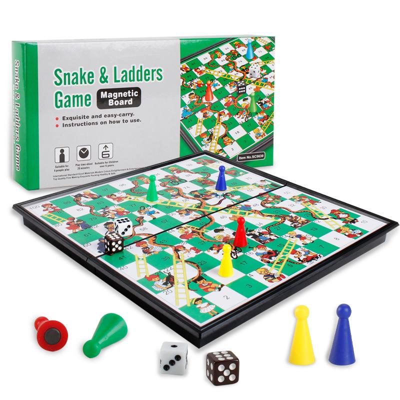 [해외]2018 아이들 접는 뱀 사다리 체스 완구 휴대용 뱀과 사다리 퍼즐 게임 완구 프리 스쿨 교육 최고의 생일 선물/2018 Kids Folding Snake Ladder Chess Toys Portable Snakes and Ladders Puzzle Game T