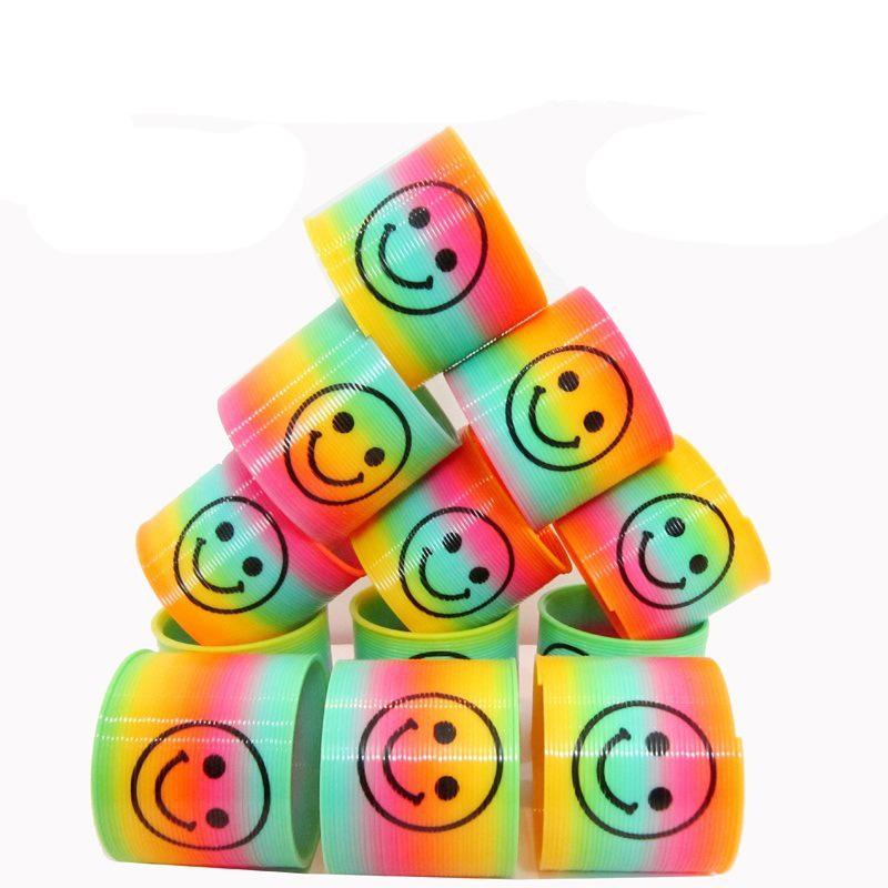 [해외]10pcs / 설정 크리스마스 생일 선물에 대 한 어린이 매직 플라스틱 미소 레인 보우 봄 다채로운 어린이 원형 코일 탄성 반지/10pcs/set Kids Magic Plastic Smile Rainbow Spring Colorful Children Circle