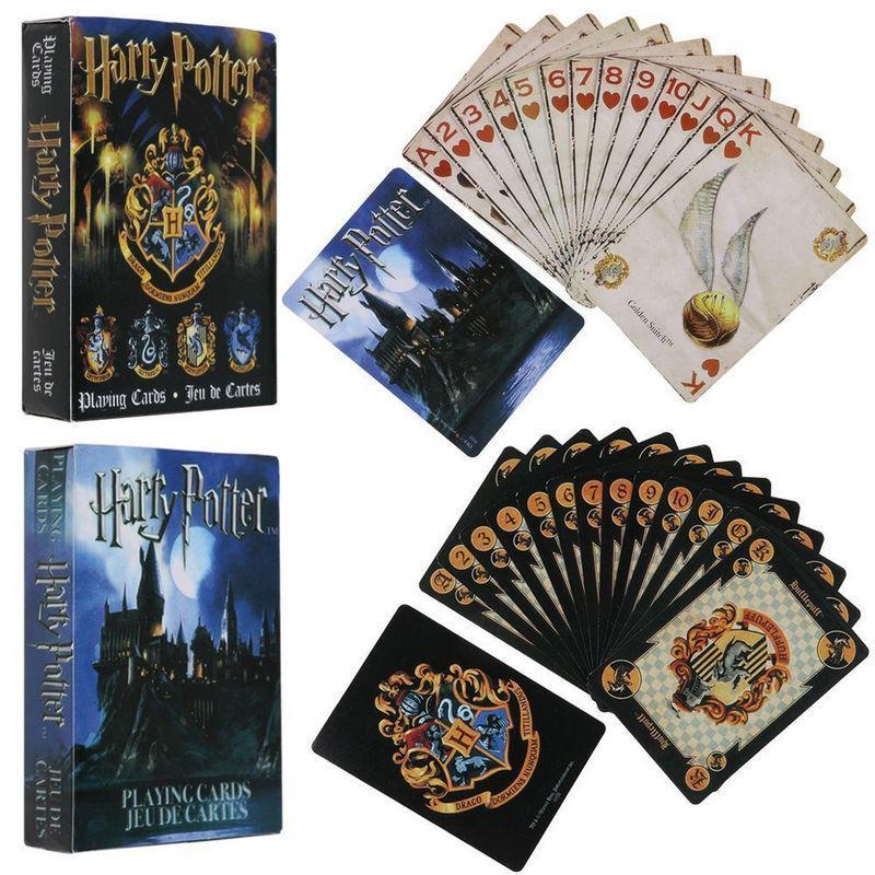 [해외]해리 포터 게임 카드 놀이 호그와트 하우스 컬렉션 배지 기호 성 볏 2 패턴 영어 세트 즐거운 아이 장난감 선물/Harry Potter Playing Game Cards Hogwarts House Collection Badges Symbols Castle Cre