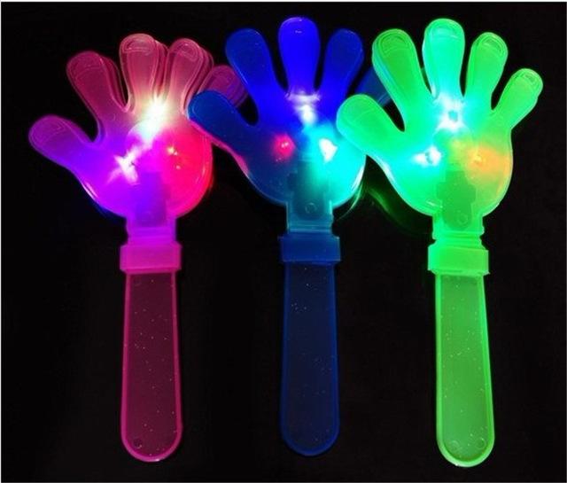[해외]12pcs / lot 조명 장난감 박수 갈채 소품 LED 가벼운 박수 손바닥 쏘는 아이 장난감 파티 호의 래틀 플라스틱 할로윈 장식/12pcs/lot light up toys Applause props LED light clap hands palms shoot
