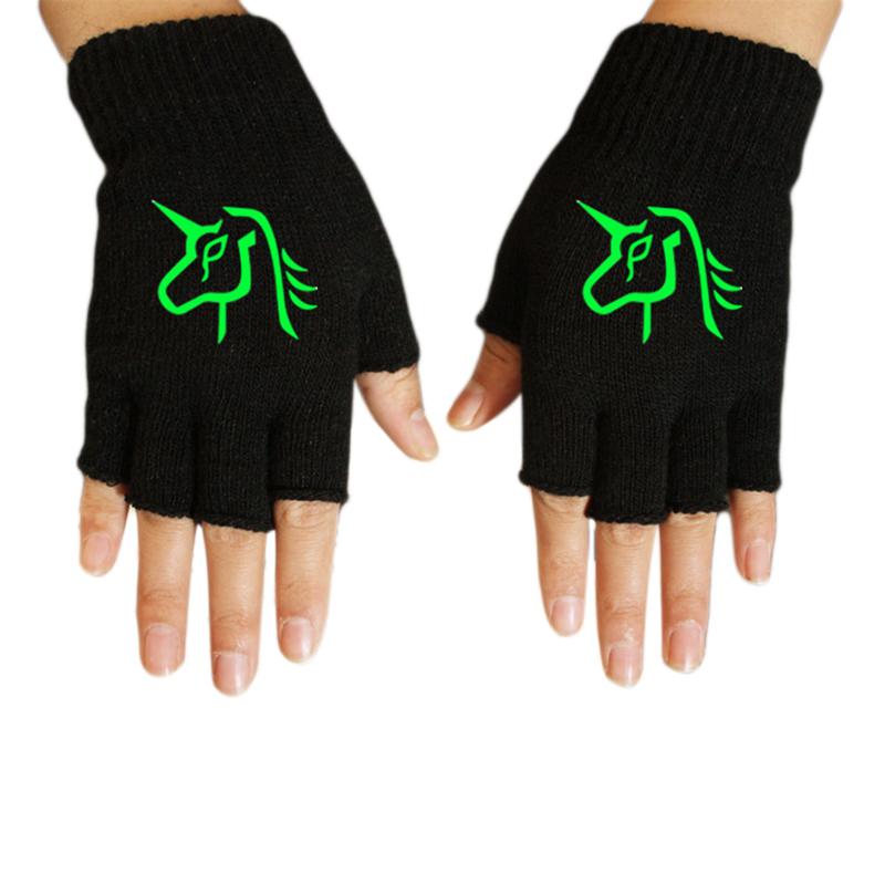 [해외]슈퍼 잘 생긴 빛나는 유니콘 남성 여성 반 손가락 장갑 그린 라이트 멋진 크리 에이 티브 겨울 가을 양모 장갑 글로우 완구/Super Handsome Luminous Unicorn Male Female Half Finger Gloves Green Light Co