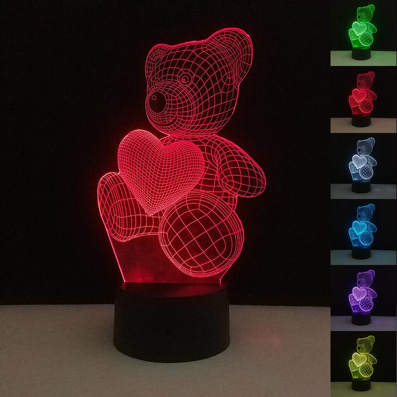 [해외]발렌타인 데이 & 데이 선물 러브 베어 어둠 속에서 색상 변경 USB 터치 컨트롤 밤 참신 장난감 장식 홈 생일 선물/Valentine&s Day Gifts Love Bear Glow in the Dark Color Change USB Touch Cont