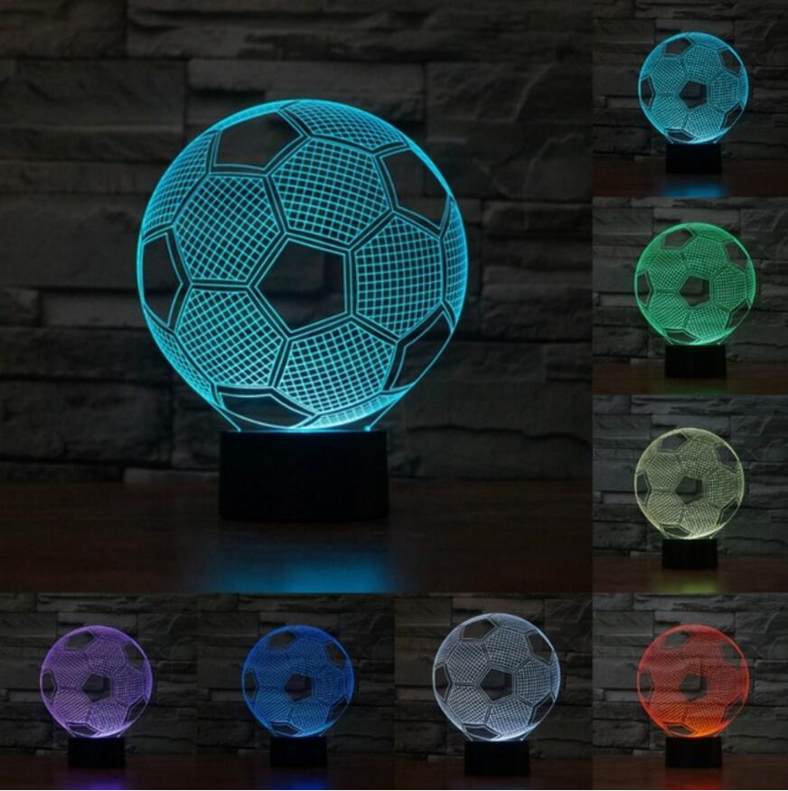 [해외]장식 테이블 다채로운 분위기에 대 한 3D 축구 7 색 생일 빛 장난감 크리스마스 수면 라이트 선물/3D Football 7 Colors For Decorative Table Colorful Atmosphere Birthdays Light Toy Christma