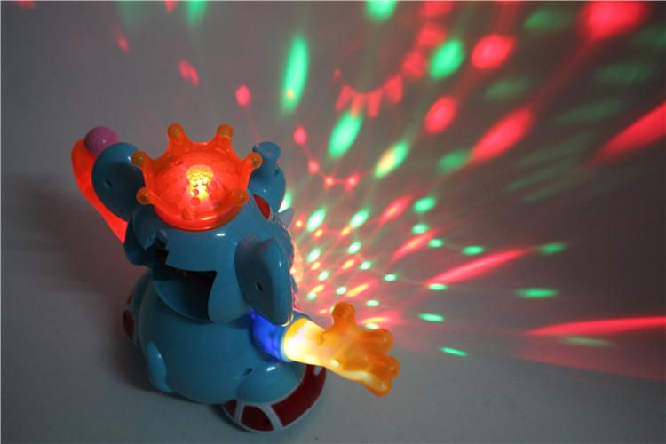 [해외]걷는 코끼리 무늬 3D 회전 조명 장난감 및 소리 기능 1 개/walking elephant pattern 3D rotation light up toy and sound function one pcs