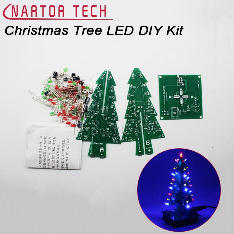 [해외]크리스마스 트리 LED DIY 키트 입체 3D 레드 / 그린 / 옐로우 LED 플래시 회로 부품 전자 재미 스위트 크리스마스 선물/Christmas Tree LED DIY Kit Three-Dimensional 3D  Red/Green/Yellow LED Fla