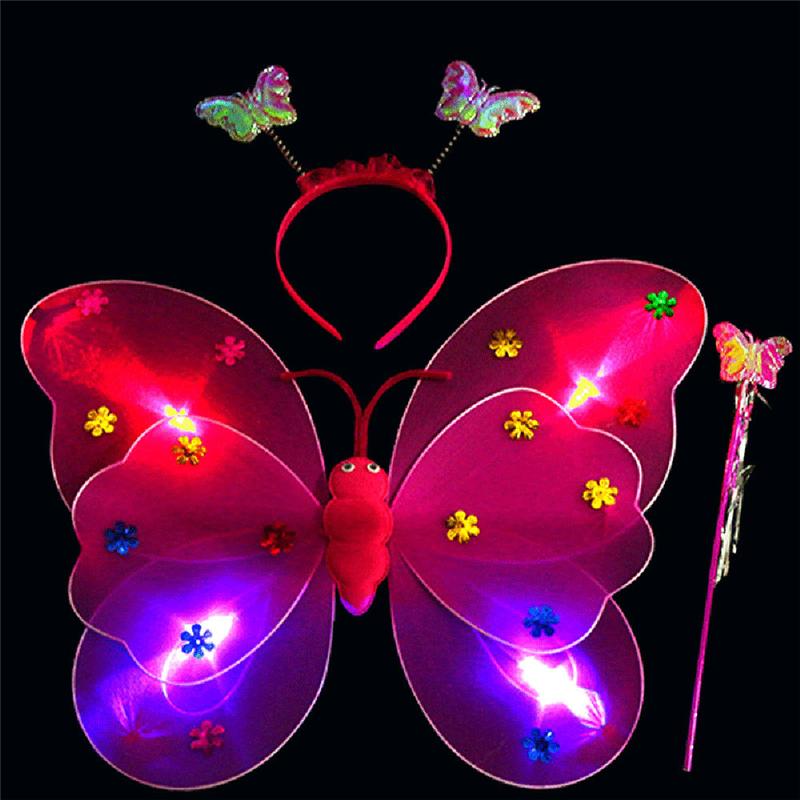 [해외]3pcs 1 세트 여자 깜박이 불빛을 요정 나비 윙 완드 헤드 밴드 의상 장난감 아이들을훌륭한 장난감 선물 키즈/3pcs 1 Set Girls Led Flashing Light Fairy Butterfly Wing Wand Headband Costume Toy