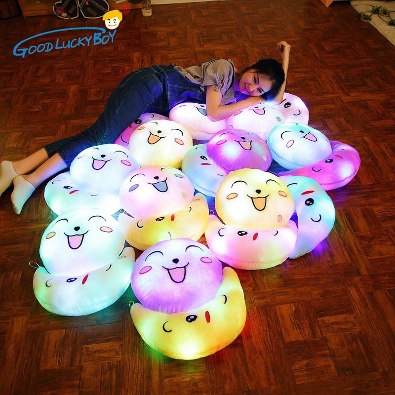 [해외]35CM 빛나는 빛나는 표현 베개 박제 동물 쿠션 인형 봉 제 조명 Kawaii Appease 아기 완구 어린이 어린이위한/35CM Glowing Luminous Expression Pillow Stuffed Animals Cushion Dolls Plush L