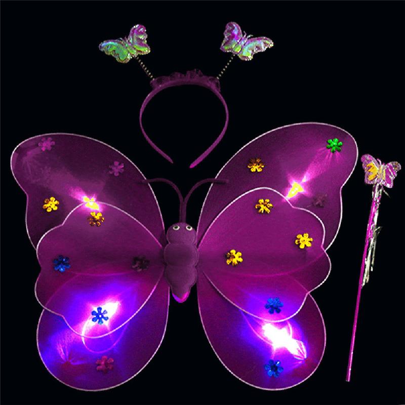 [해외]?보라색 깜박이 불빛 3pcs 세트 여자 깜박이 불빛 요정 나비 날개 완드 헤드 밴드 의상 장난감 핑/ Purple Flashing Light 3pcs Set Girls Led Flashing Light Fairy Butterfly Wing Wand Headba