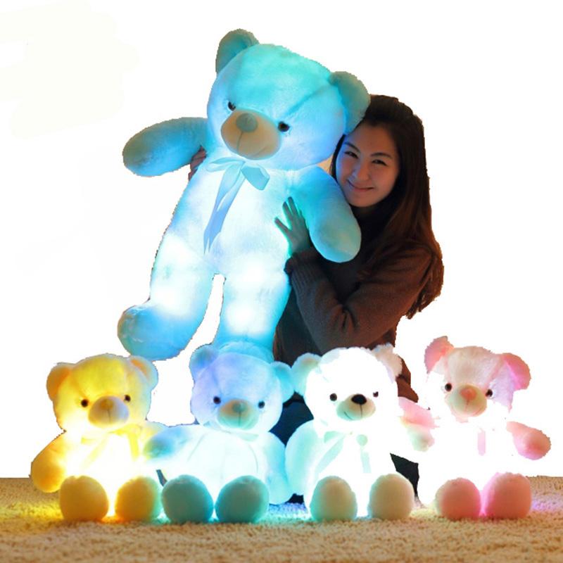 [해외]50CM 크리 에이 티브 라이트 최대 LED 유도 곰 박제 동물 봉 제 장난감 다채로운 빛나는 테 디 베어 크리스마스 선물 키즈/50CM Creative Light Up LED Inductive Teddy Bear Stuffed Animals Plush Toy