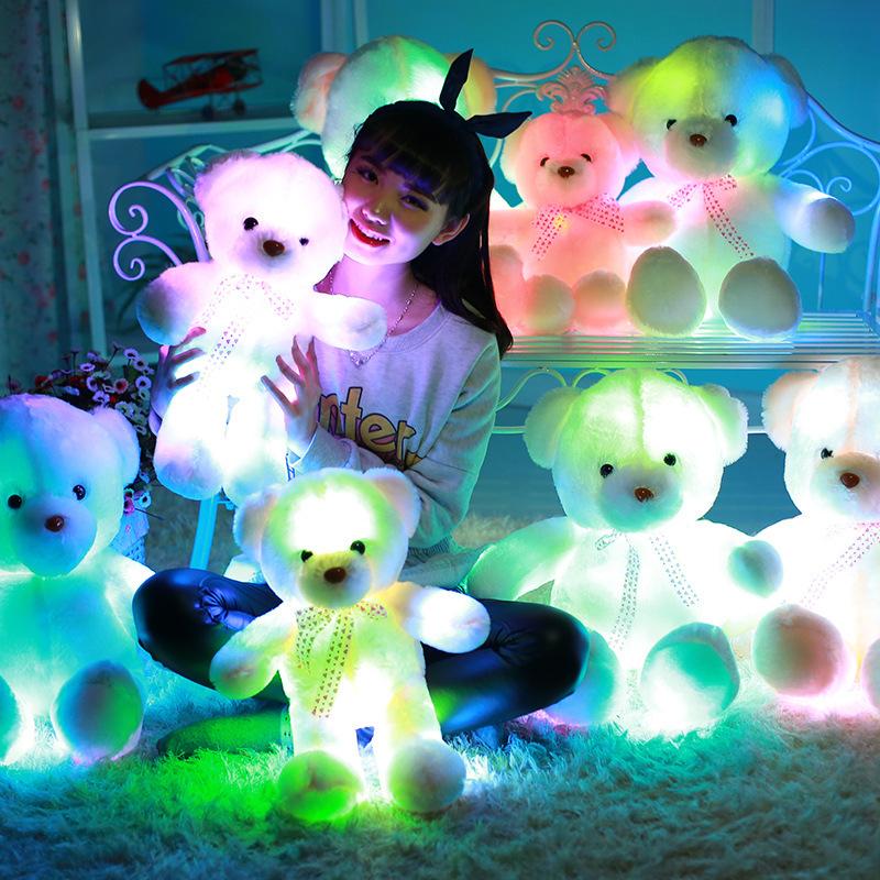 [해외]35cm 50cm 70cm 크리 에이 티브 라이트 최대 LED 테 디 베어 동물 봉 제 장난감 다채로운 빛나는 테 디 베어 크리스마스 선물 키즈/35cm 50cm 70cm Creative Light Up LED Teddy Bear Stuffed Animals P