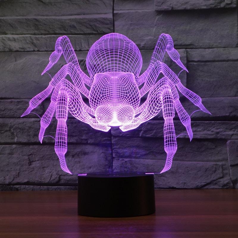 [해외]2017 대외 무역 새로운 거미 3D 램프 7 컬러 터치 충전 LED 시각적 빛 선물 축 하 3059/2017 foreign trade new spider 3D lamp seven color touch charge LED visual light gift cele