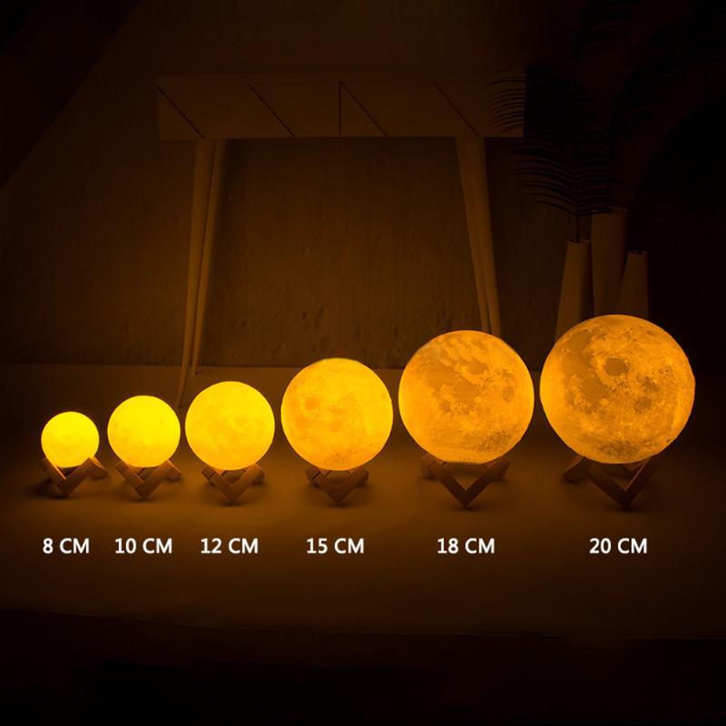 [해외]3D 인쇄 된 다채로운 LED 보름달 밤 빛 터치 스위치 데스크 음력 램프 달 암흑 달빛에 반짝임 어린이 장난감 집 장식/3D Printed Colorful LED Full Moon Night Light Touch Switch Desk Lunar Lamp Glo