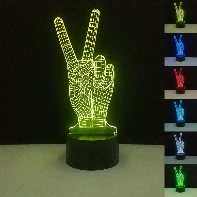 [해외]승리 제스처 가벼운 장난감 터치 컨트롤 참신 장난감 시각적 장식 분위기 7 색 변경 홈 게임 파티 축제/Victory Gesture Light-Up Toys Touch Control Novelty Toy Visual Decoration Atmosphere 7 C
