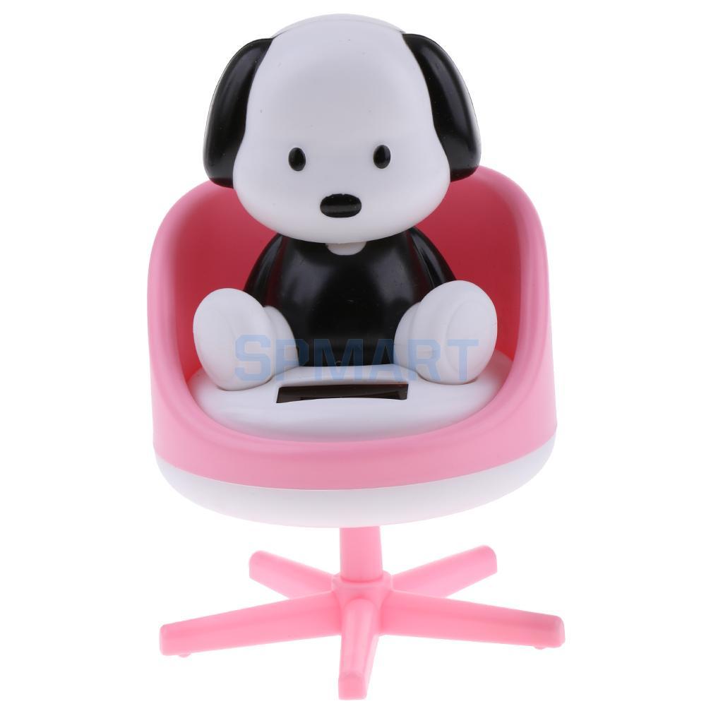 [해외]태양 전원 춤을 끄덕 의자에 동물 강아지 강아지 모델 애완 동물 장난감 자동차 홈 장식 장식품 핑크 선물/Solar Powered Dancing Nodding Animal Puppy Dog on chair Model Pet Toy Car Home Decorati