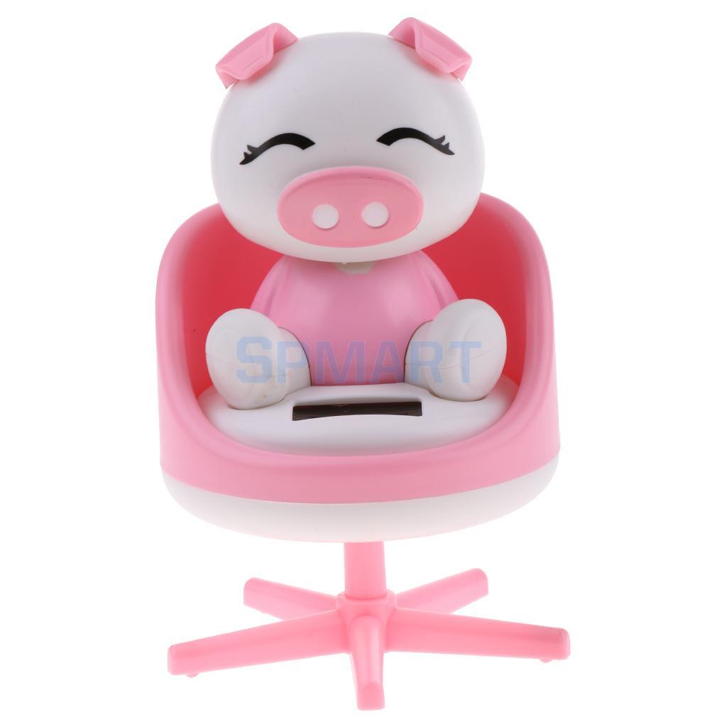 [해외]태양 전원 춤을 끄덕 의자에 동물 돼지 모델 애완 동물 장난감 자동차 홈 장식 장식품 핑크 선물/Solar Powered Dancing Nodding Animal Pig on chair Model Pet Toy Car Home Decoration Ornament