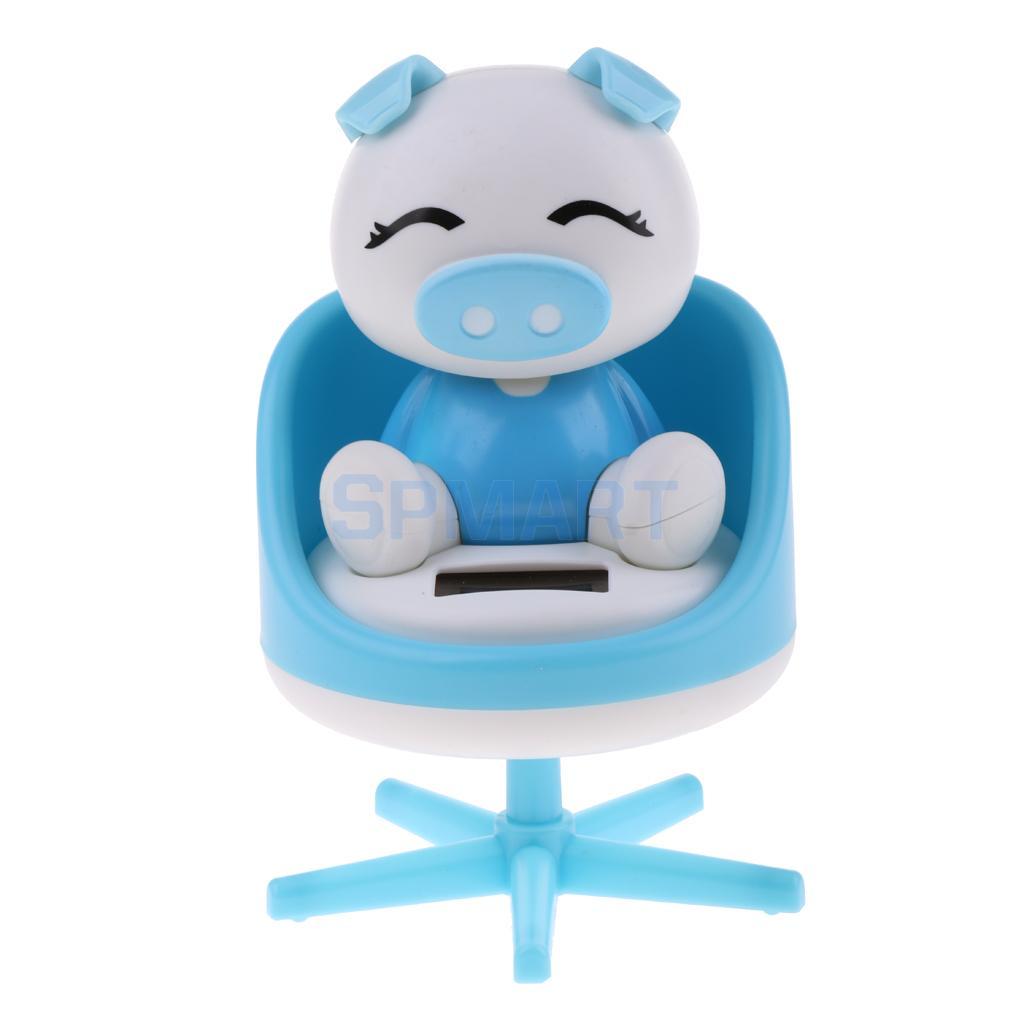 [해외]태양 전원 춤을 끄덕 의자에 동물 돼지 모델 애완 동물 장난감 자동차 홈 장식 장식품 선물 블루/Solar Powered Dancing Nodding Animal Pig on chair Model Pet Toy Car Home Decoration Ornament