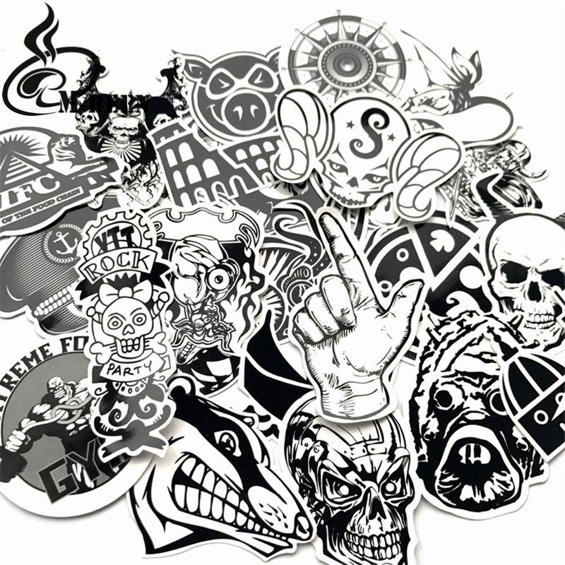 [해외]60 PC의 흑백 스티커 낙서 스티커 노트북 스케이트 보드 수하물 기타 멋진 펑크 PVC 방수 스티커/60 Pcs Black and White Stickers Graffiti Sticker for Laptop Skateboard Luggage Guitar Bra