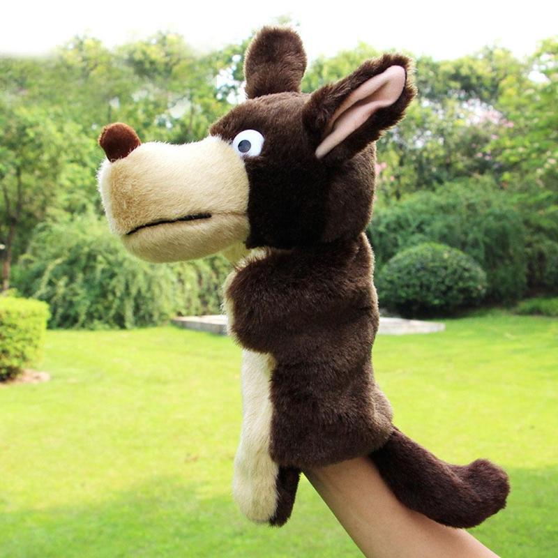 [해외]손 인형 사랑스러운 동물 봉제 유년기 부드러운 장난감 늑대 모양의 이야기 척 인형 선물 손가락 인형 장난감 손에