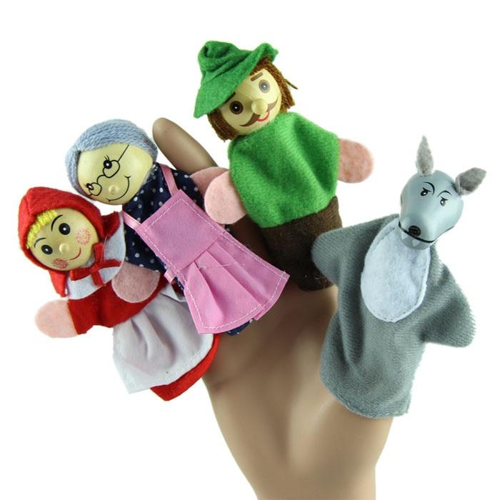 [해외]4 pcs 유아 아이 교육 학습 작은 빨간 승마 손 손가락 인형 interative 매력적인 재미있는 장난감 어린이위한