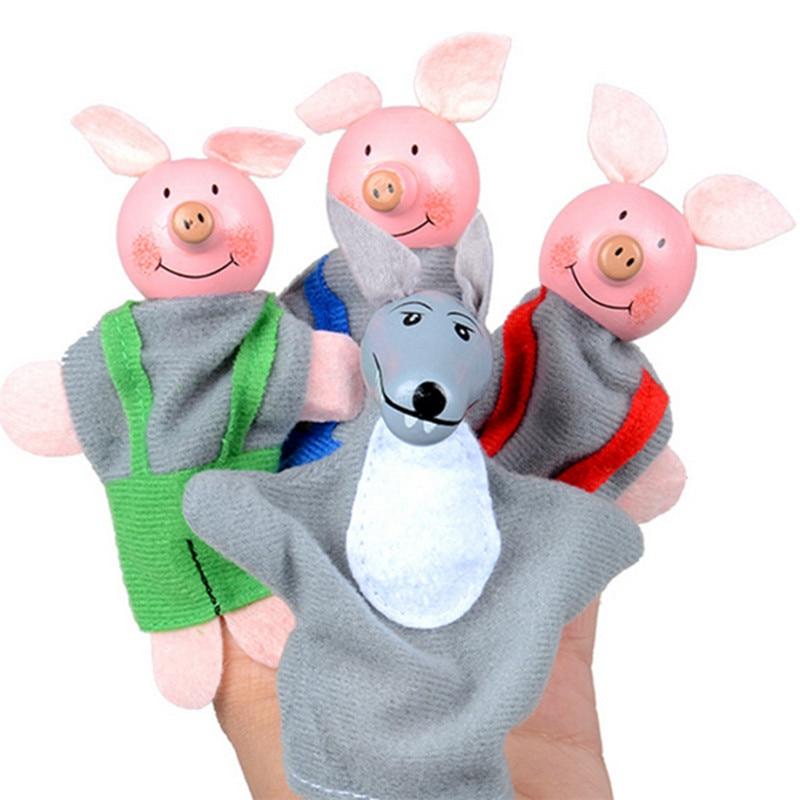 [해외]4 pcs 세 작은 돼지와 늑대 손가락 인형 손 인형 크리스마스 선물 장난감 손가락 인형