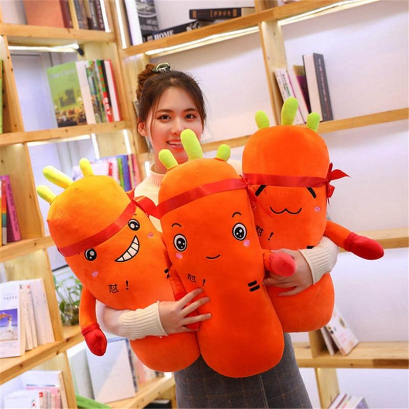 [해외]새로운 65-95 cm cretive 시뮬레이션 공장 플러시 장난감 권투 장갑과 귀여운 당근 박제 코튼 소프트 베개 소녀를위한 사랑스러운 선물