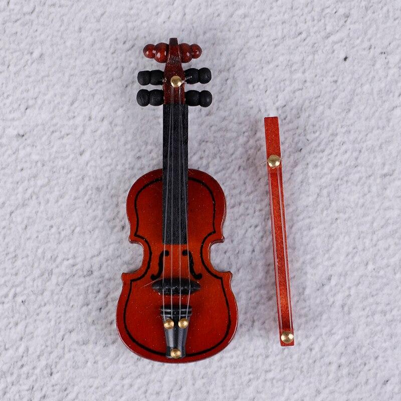 [해외]1Pc 나무 미니 바이올린 인형 집 장식 소형 음악 악기 공예 DIY 홈 인테리어 어린이 선물 6.2*2.4CM