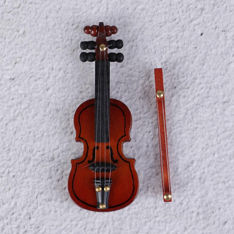 [해외]1 pc 나무 미니 바이올린 인형 집 장식 소형 음악 악기 공예 diy 홈 인테리어 어린이 선물 6.2*2.4 cm