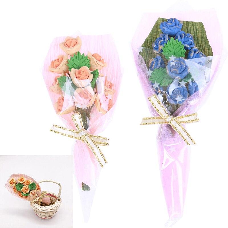 [해외]1 pcs 미니 꽃다발 장미 미니 꽃다발 발렌타인 데이 선물 1/12 인형 집