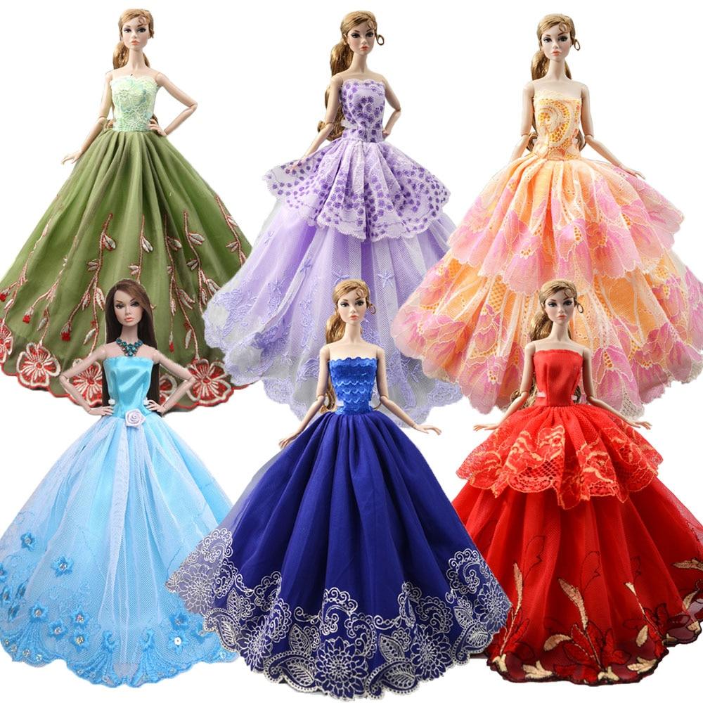 [해외]NK 2020 최신 인형 드레스 수제 파티 웨딩 의류 톱 패션 드레스 바비 인형 액세서리 아동 장난감 선물 JJ