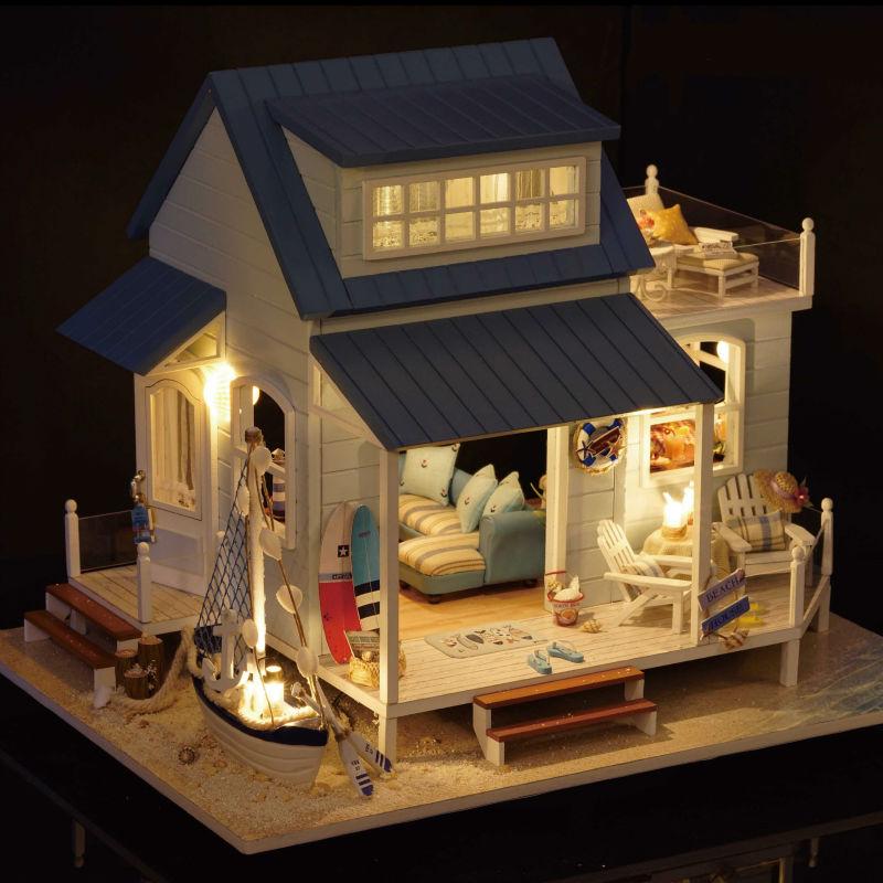 [해외]Christmas Gift New Year Gifts Diy Miniature Doll House Model Building Puzzle Wooden DollhouseFurniture Toys Caribbean Sea/Christmas Gift New Year