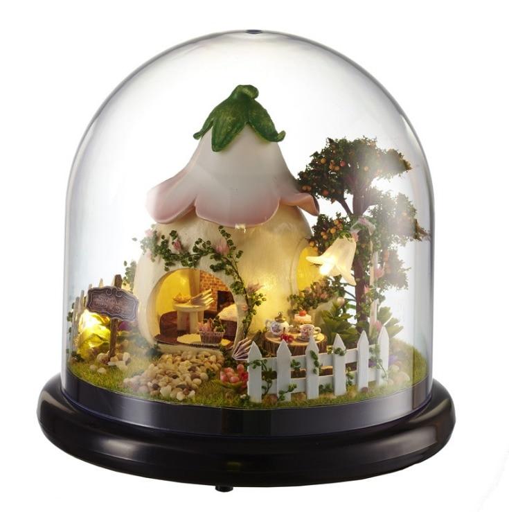 [해외]mylb small doll house Totoro wooden doll houses miniature home assembling dollhouse diy glass ball toys kit totoro figure/mylb small doll house To